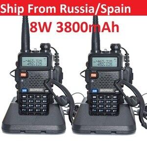 2pcs Walkie Talkie Baofeng uv-5r 8W 3800mAh battery Two Way radio CB radio communicador for ham raido Baofeng uv 5r 128CH