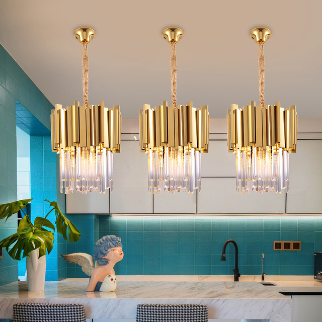 Chrome/gold kitchen lights led chandelier lighting for dining room luxury foyer k9 crystal small round hanging lamp