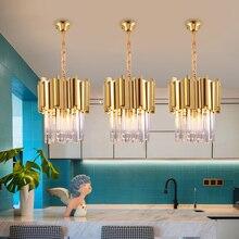 Chrome/gold oświetlenie kuchenne żyrandole sufitowe led do sypialni jadalnia luksusowe foyer k9 crystal małe okrągłe, wiszące lampy