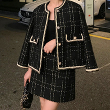 European Style Autumn Winter 2 Piece Set Women Short Woolen Tweed Jacket Coat &