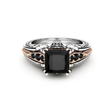 Luxury Female Black Stone Ring Vintage Rose Gold&Silver Zircon Wedding Ring Charms  Square Engagement Rings For Women 925 silver jewelry diamond rings rose gold costume jewelry topaz vintage luxury ladies zircon ringen black ring tungsten b1001