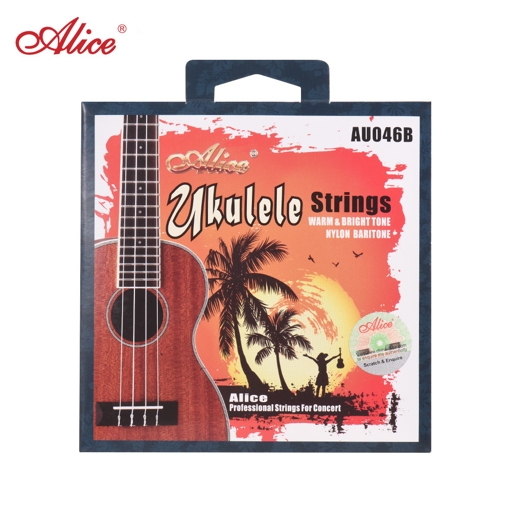 Alice AU046 Series Ukulele Ukelele Uke Strings Set(A-E-C-G) White Modified Nylon for Baritone Ukulele AU046-B