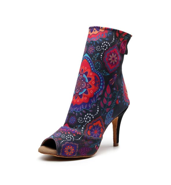 여성 살사 재즈 볼룸 라틴 댄스 신발 춤 여성 표준 숙녀 탱고 댄스 힐 꽃 1018 부츠