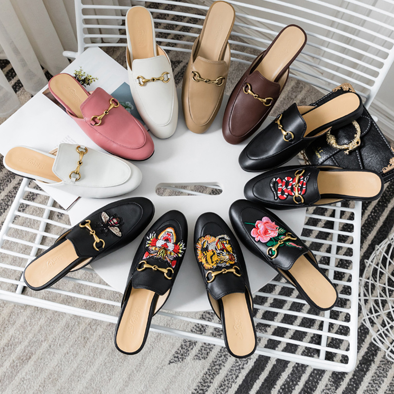 Muller Shoes Women  Spring And Summer New Slippers Women Wear Net Red Lazy Shoes Flat Baotou Half Slippers Sandals And Slippers