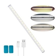 BORUiT 40 LED תחת קבינט אור USB נטענת ארון ארון מיטת אורות Dimmable אלחוטי לילה אור לארון מדרגות