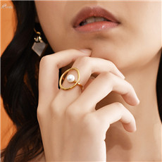 AOMU-Fashion-Jewelry-Gift-Metal-Rings-For-Women-Geometric-Round-Ring-Imitation-Pearl-Ring-Party-Wedding