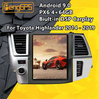 Tesla Screen Android PX6 For Toyota Highlander 2014 - 2019 Car multimedia Stereo Radio player DSP CARPLAY GPS Navi Head unit IPS