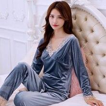 Pijamas Sexy Sleep Wear Velvet Tops for Womens Two Piece Sets Pajamas for Women LongSleeve Sleepwear Sleep Tops Trousers Pyjamas