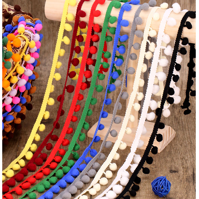 DIYHouse® 3Yards Vintage Embroidered Trim Ribbon Pom Pom Ball Fringe Ribbon