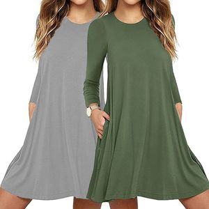Womens Autumn Long Sleeve Round Neck Plain T-Shirt Dress Solid Color Pleated Swing Casual Loose Pullover Streetwear with Pockets