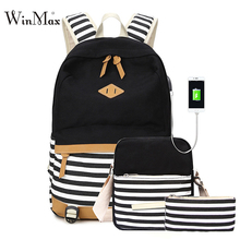 New 3pcs Sets Backpack For Teenage Girls School Bags Striped Print Canvas Backpacks Usb Laptop Backpack Daypack Phone Food Bags недорого