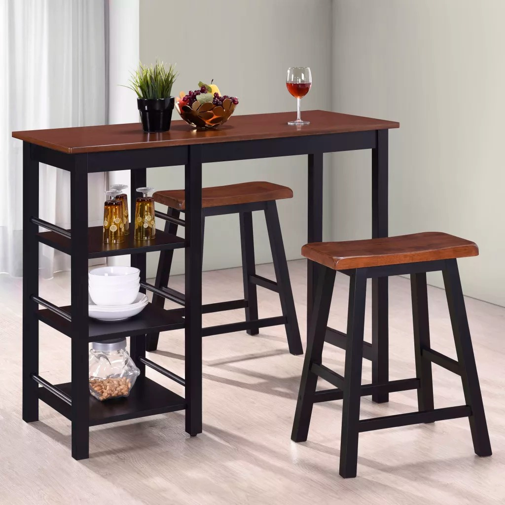 VidaXL Bar Table Chairs Set 3 Pieces MDF Black Home Bar Stools Furniture Sets