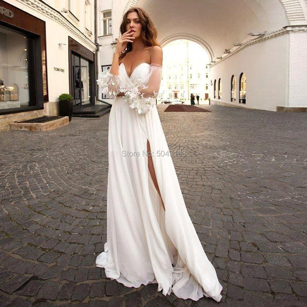 Chic A Line Beach Chiffon Wedding Dresses 2020 Sexy Sweetheart High Slit Lace Bohemian Wedding Gowns With Detachable Sleeves