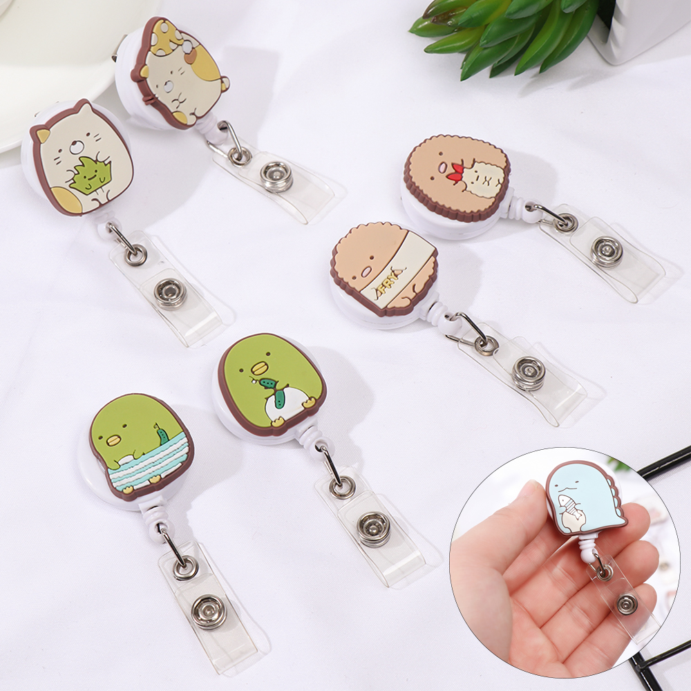 Animals Retractable ID Badge Reel Holder Cute Colors Nurse Badge Reel Clip Fashion Exhibition Name Card Chest Office Supplies