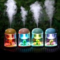 Mini mikro peyzaj hava nemlendirici USB sessiz ultrasonik difüzör Mist Maker renkli LED gece işığı değiştirme ev ofis için