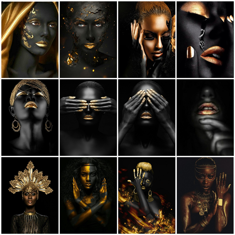 AZQSD DIY Paint By Number Black Gold African Woman Oil Painting On Canvas Wall Picture For Living Room Modern Handmade Gift