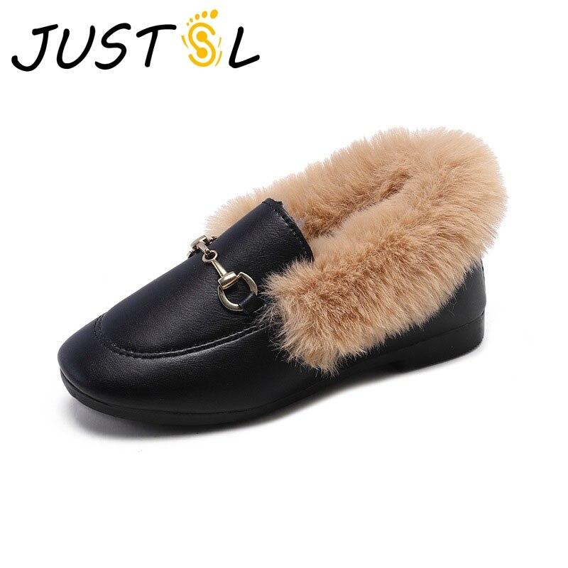 JUSTSL Autumn Winter Children's Cotton Shoes Girls Plus Velvet Shoes Kids Keep Warm Casual Shoes Size 26-25
