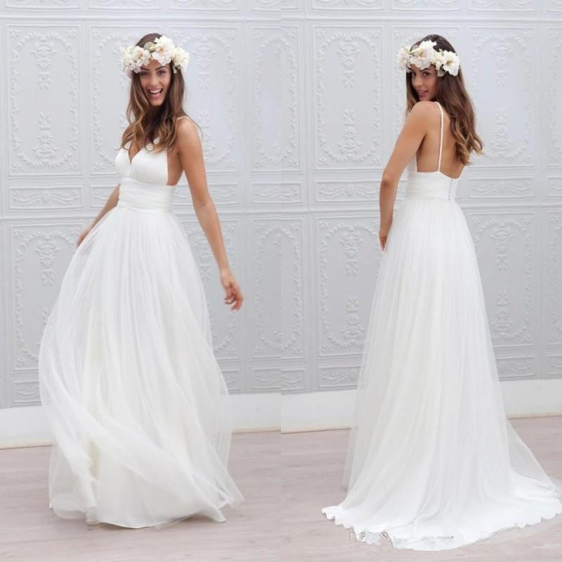 Summer Beach <font><b>Boho</b></font> <font><b>Wedding</b></font> <font><b>Dresses</b></font> <font><b>2019</b></font> <font><b>Sexy</b></font> <font><b>Backless</b></font> Spaghetti Straps Tulle Ruched Floor Length Bohemian <font><b>Wedding</b></font> Bridal <font><b>dress</b></font> image