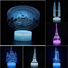 Architectural Series Pyramid 3D Night light Colorful touch LED lamp Small table lamp Bedside lamp Originality Decorative lamp