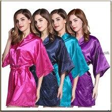 Satin Robe Hochzeit Braut Roben Brautjungfer Roben Geschenk Für Brautjungfer dame nacht kleid nachtwäsche seide robe braut robe WQ18 4 auftrag