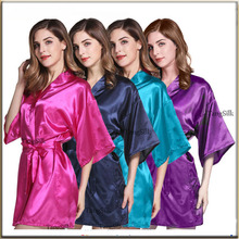 Satin Robe Wedding Bridal Robes Bridesmaid Robes Gift For Bridesmaid lady night gown sleepwear silk robe bride robe WQ18 4 order