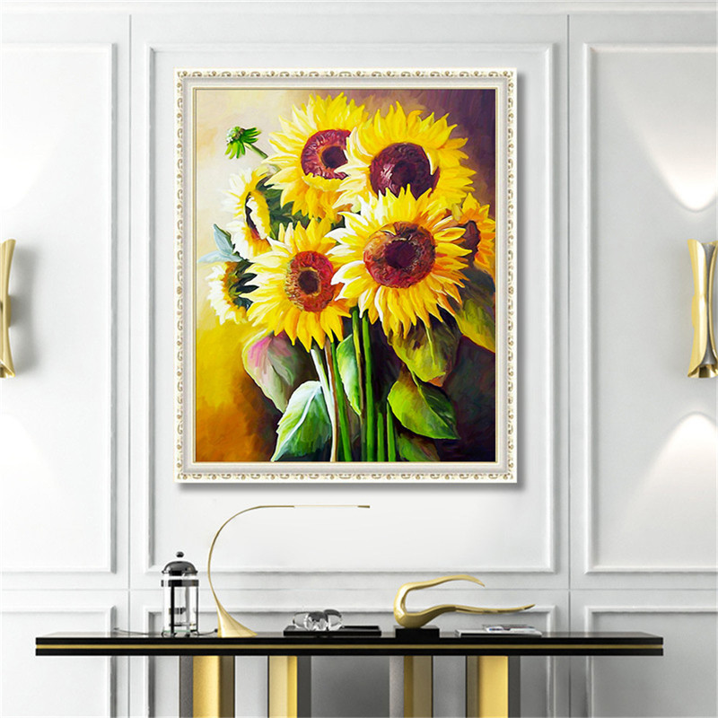 5D DIY Diamond Painting Sunflower Crystal Rhinestone Paintings Home Decor Halloween