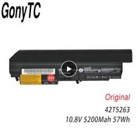 GONYTC 10.8V 57Wh 5200mAh Original 42T4653 42T4549 42T4677 42T5263 Laptop Battery For Lenovo T400 R400 R500 T61 T61P R61 R61I