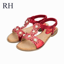 New Sweet Love Wind Precious Pearl Point Drill Line Sandals Casual Comfort T Type Flat Shoes Manufacturers