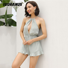 IUURANUS Summer Playsuit Fashion Overalls for Women Halter Striped Jumpsuit Sleeveless Hollow Out Backless Ruffles Casual Romper women s stylish sleeveless backless halter romper