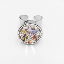 initial/Fashion New Hot Esoteric Pentagonal Glass Button Ring Vintage Wicca Star Tree of Life Open Gift