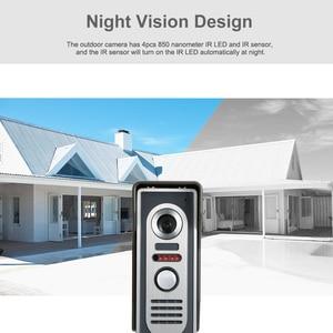 Image 3 - OWSOO 7 inç görüntülü kapı telefonu kapı zili interkom seti 2 kapalı monitör 1 açık kamera Hands free çağrı elektrikli kilit kontrol