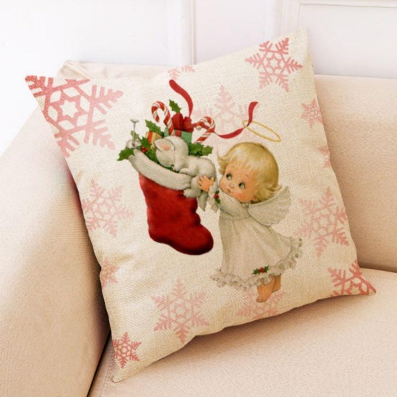 Di Natale Coperture per Cuscini Coperture Divano 45X45 Cm Copertura Del Cuscino di Arte Moderna Fantasia Decorativa di Natale Federe Decorativi - 3