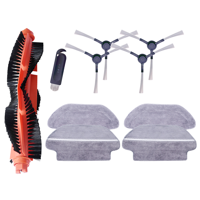 4 Mop Cloths & 4 Side Brush & 1 Cleaning Tool & 1 Roller Brush for Xiaomi STYJ02YM Robot Vacuum Cleaner Spare Parts Accessories