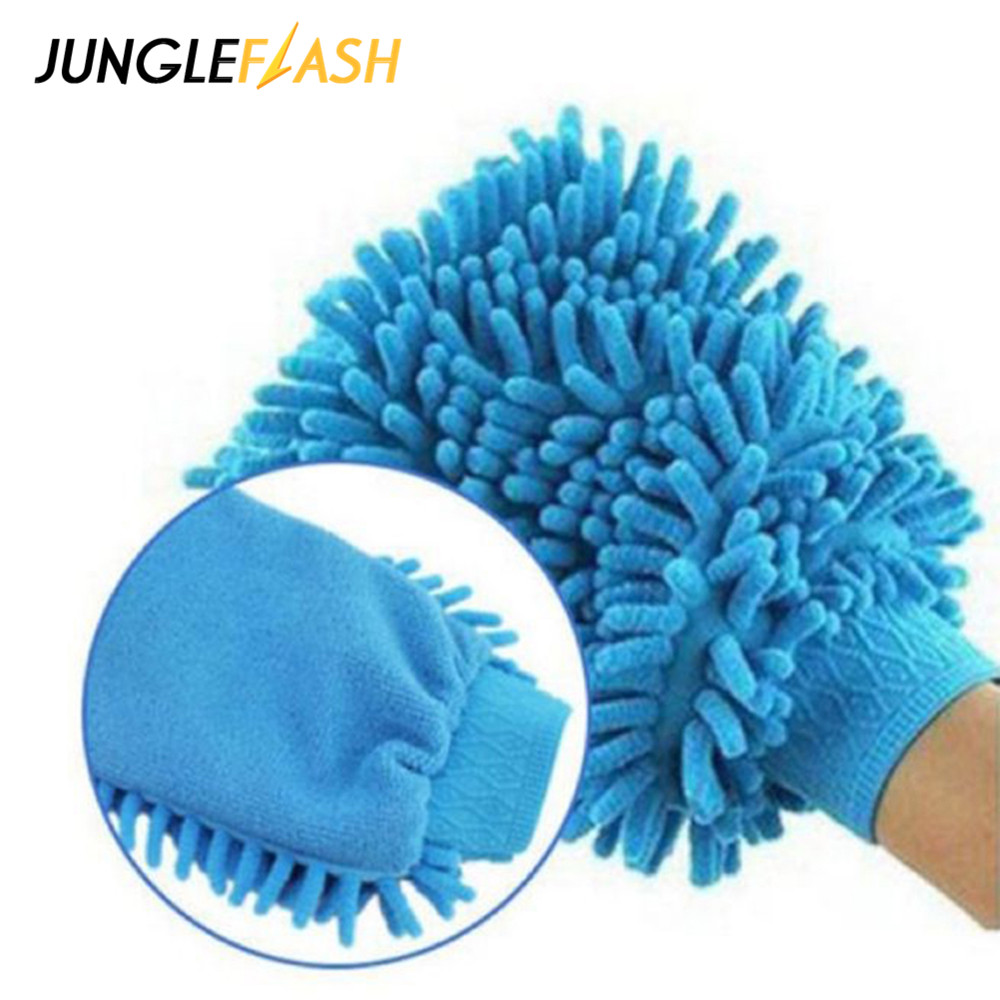 JUNGLEFLASH Microfiber Washing Hand Gloves Large Size Car Window Dust Cleaning Glove Household Cleaning Towel Car Drying