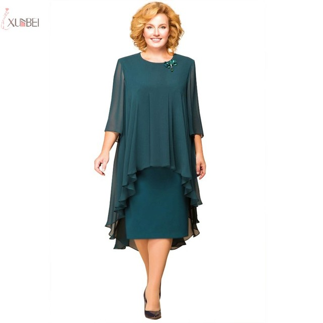 Plus Size Mother Of The Bride Dresses With Jacket Suit Half Sleeve 2019 Wedding Party Gown Two Piece Tea Length 1