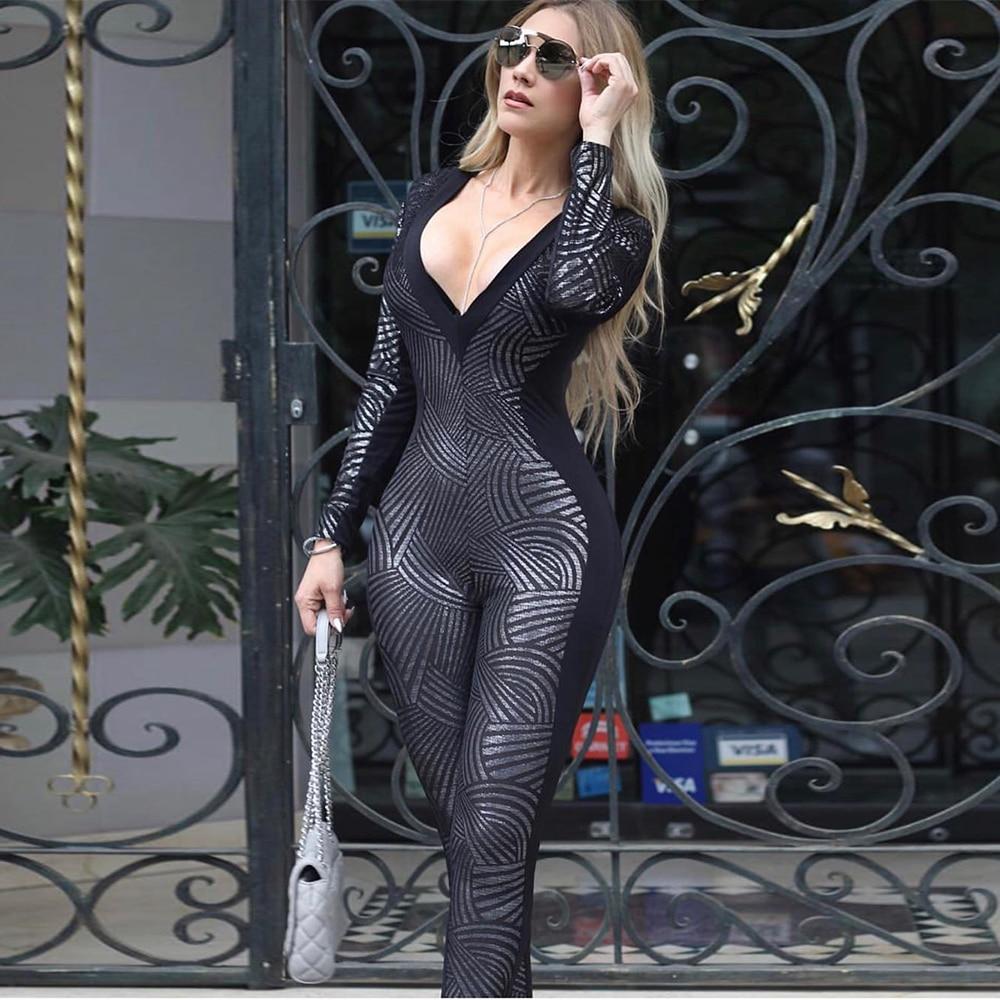 Ocstrade Bandage Jumpsuit 2020 New Women Metallic Black Long Sleeve Bandage Jumpsuit Sexy Celebrity Party Club Bodycon Jumpsuit