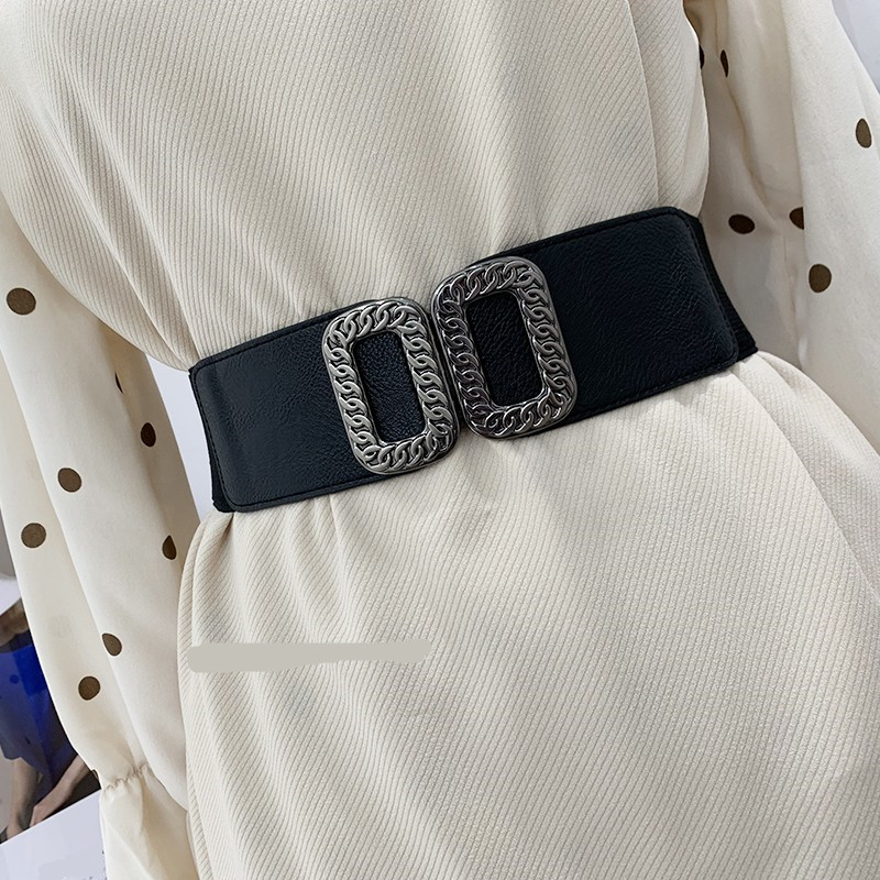 Vintage Royal Chain Buckle Waistbands Women's Cummerbund Elastic Wide Belt All-match Waistband Decoration Strap For Dress Coat