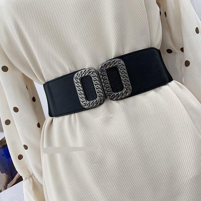 Vintage Royal Chain Buckle Waistbands Women's Cummerbund Elastic Wide Belt All-match Waistband Decoration Strap For Dress Coat