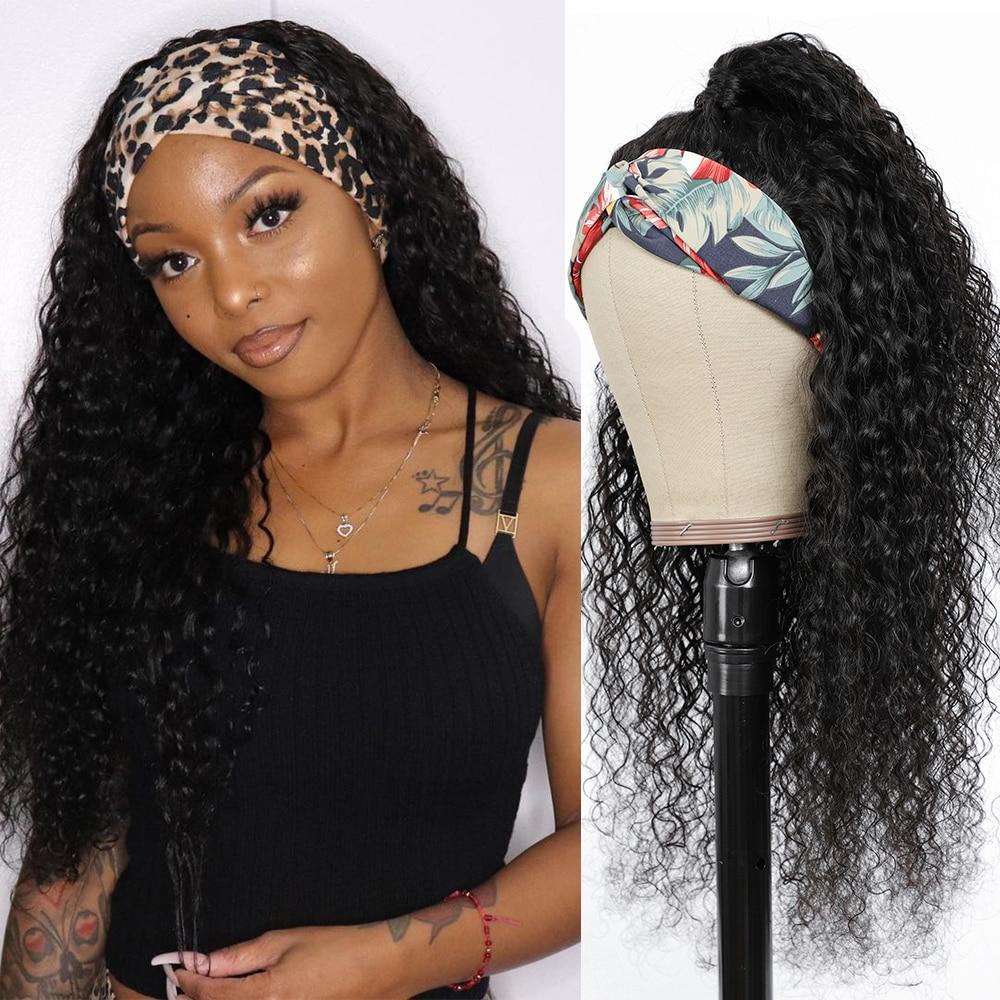 Elees вьющиеся парик с головной повязкой парики из натуральных волос для Для женщин бразильский волос манекен для шарфа парика бесклеевого Ре...