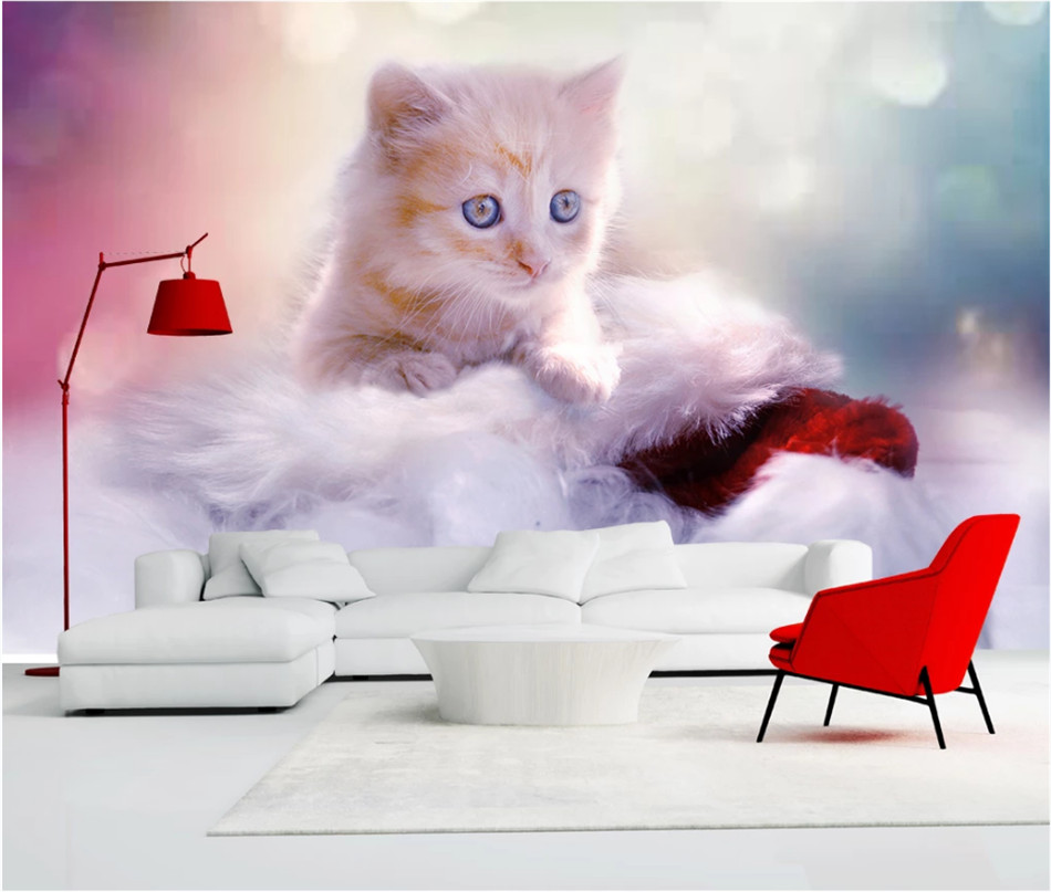 Beautiful Dreamy Cute Cat 3d Photo Wallpapers For Kids Room Walls Children S Room Background Wall Paper Papel De Parede 3d