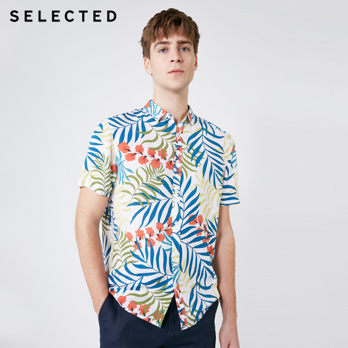 SELECTED Men's Loose Fit Printed Trend Short-sleeved Temperament Casual Shirt S|419204516