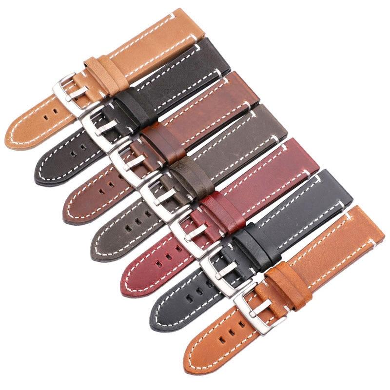 genuíno pulseira cinto manual masculino grosso marrom