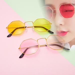 Retro Sunglasses Frame Octagon Round Metal Fashion Women Korea for Anti-Blue-Light