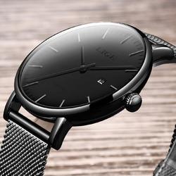 LIGE Novos Homens Da Moda Relógios Top Marca de Luxo À Prova D' Água Esportes Relógio de Quartzo Mostrador do Relógio Ocasional Relogio masculino Dos Homens Ultra Fino
