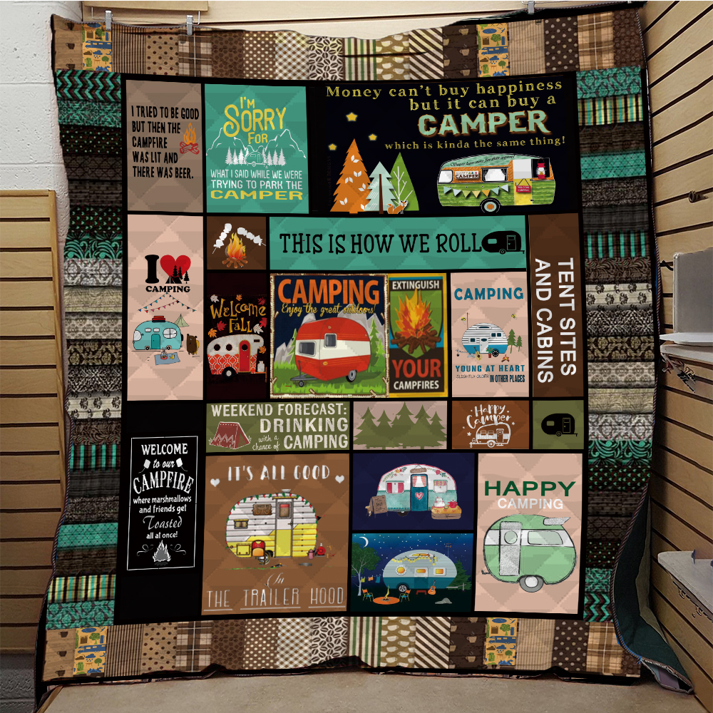 SOFTBATFY   Camping Caravan Quilt Print All Season Quilt For Bed Soft Warm Blanket Cotton Quilt Dropshipping