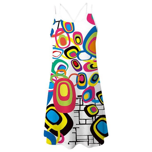 Women'S Summer Short Suspender Dress 3d Printing Sling O-Neck Hollow Out Slim Bottoming Shirt Ladies Dress платье летнее M* 11