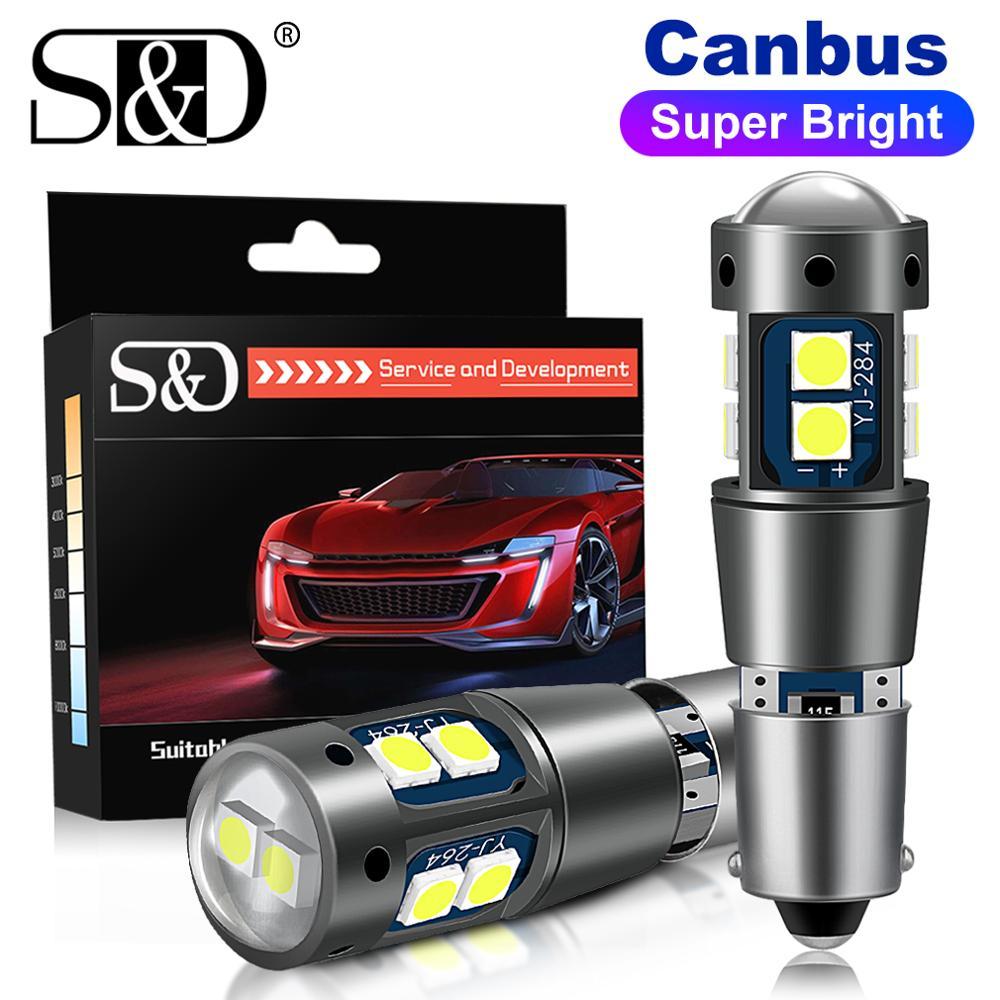 Супер-яркие светодиодные лампы Canbus BA9S BAX9S BAY9S, 2 шт., H21W BAY9S H6W T4W T11