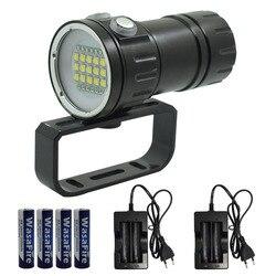 Linterna submarinismo profesional submarina de 25000 lúmenes, 15 L2, blanco, 6xRed, 6xBlue Light, linterna de buceo, lámpara de fotografía y vídeo