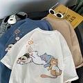 Cute Loose Cat Print Tshirt Streetwear Amine High Street T Shirt Funny Korean Japan Harajuku Casual Kawaii Tshirt Female