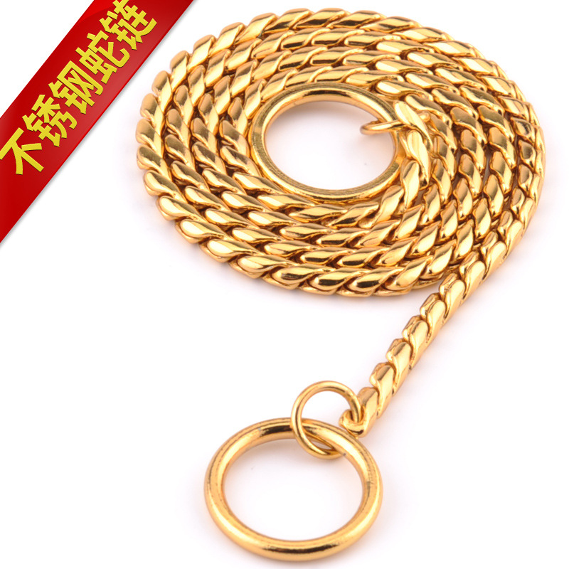 Han Le Stainless Steel Dog Pendant Metal P Pendant Snake Chain Small Large Dog Pet Supplies Dog Neck Ring